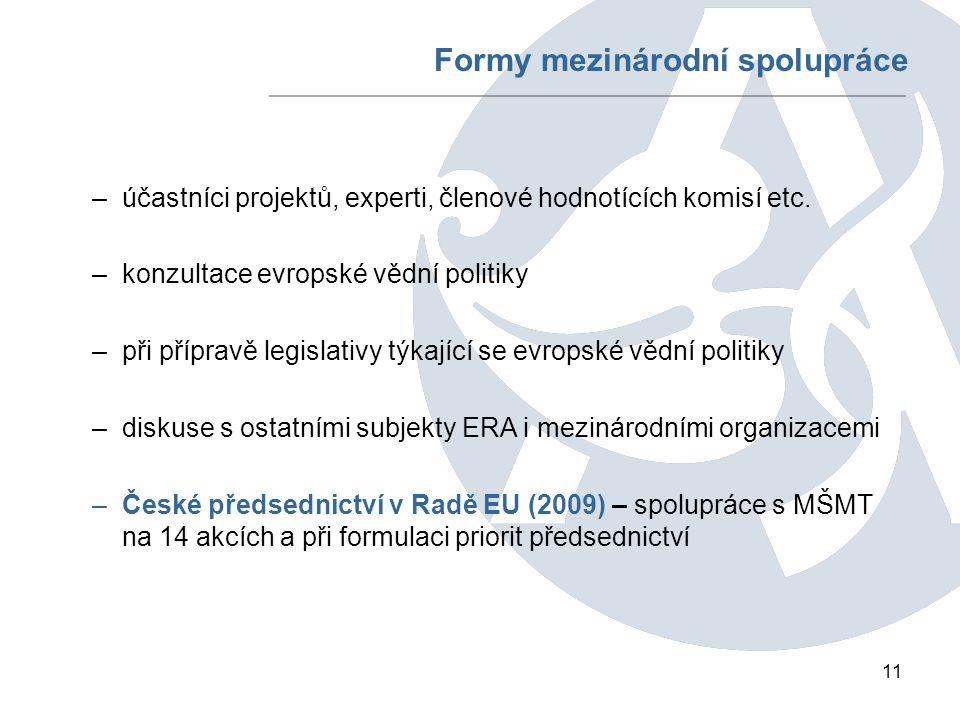 11 Formy mezinárodní spolupráce –účastníci projektů, experti, členové hodnotících komisí etc.