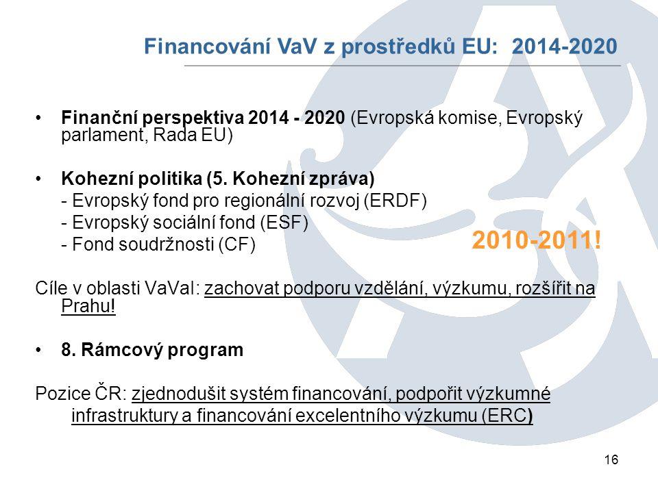 16 Finanční perspektiva 2014 - 2020 (Evropská komise, Evropský parlament, Rada EU) Kohezní politika (5.