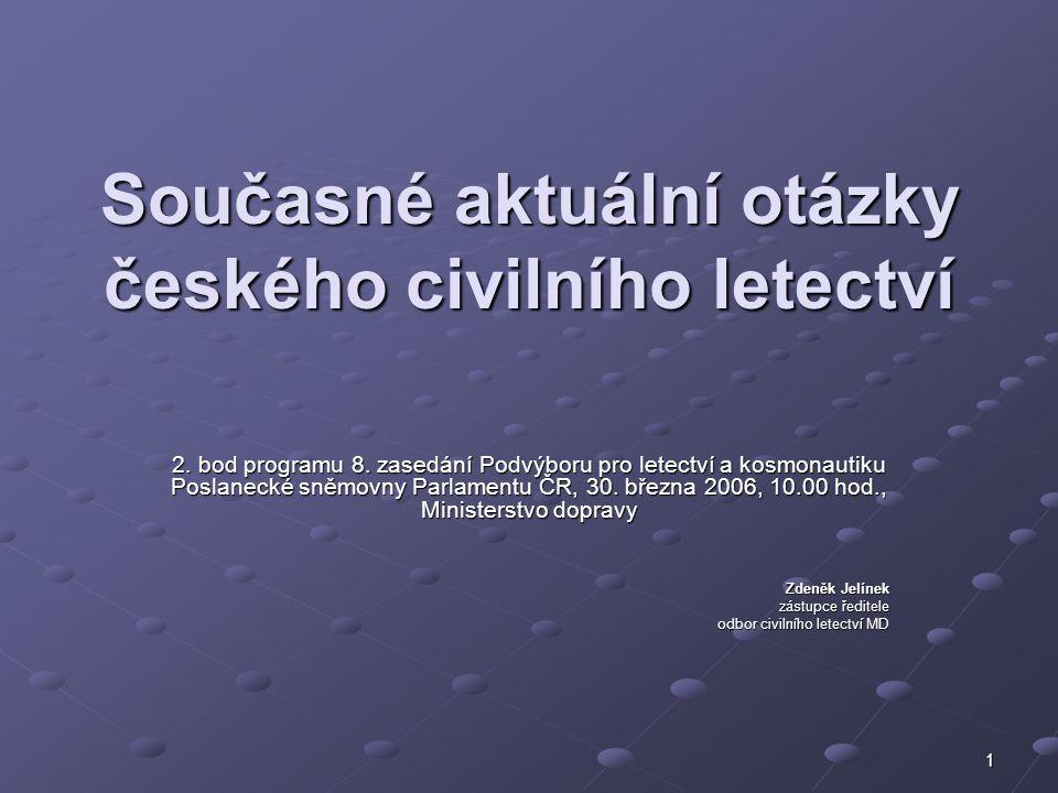 1 Současné aktuální otázky českého civilního letectví 2. bod programu 8. zasedání Podvýboru pro letectví a kosmonautiku Poslanecké sněmovny Parlamentu