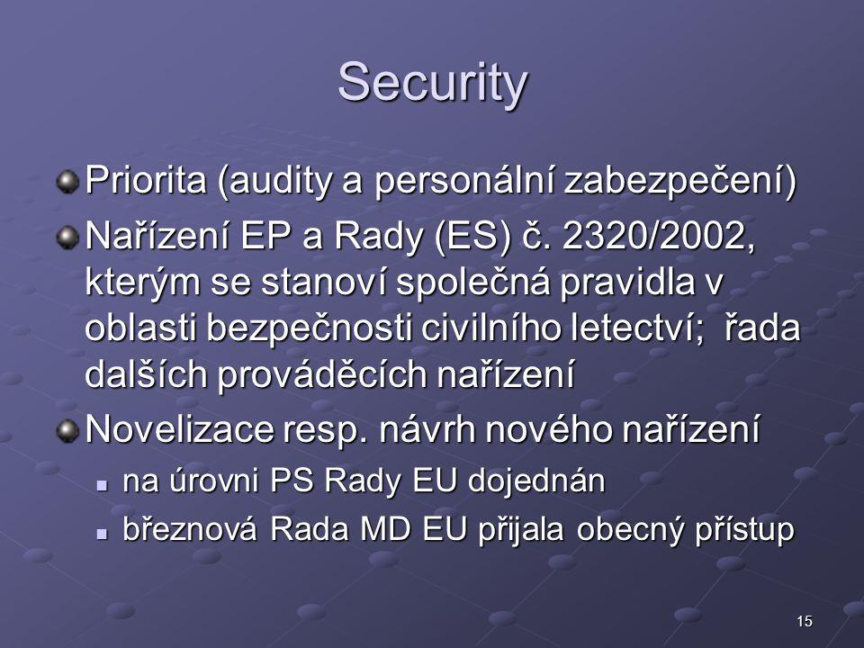 15 Security Priorita (audity a personální zabezpečení) Nařízení EP a Rady (ES) č. 2320/2002, kterým se stanoví společná pravidla v oblasti bezpečnosti