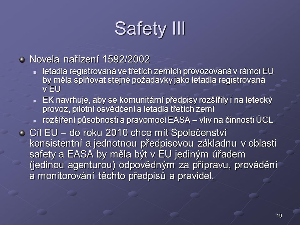 19 Safety III Novela nařízení 1592/2002 letadla registrovaná ve třetích zemích provozovaná v rámci EU by měla splňovat stejné požadavky jako letadla r
