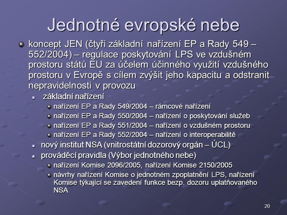 20 Jednotné evropské nebe koncept JEN (čtyři základní nařízení EP a Rady 549 – 552/2004) – regulace poskytování LPS ve vzdušném prostoru států EU za ú