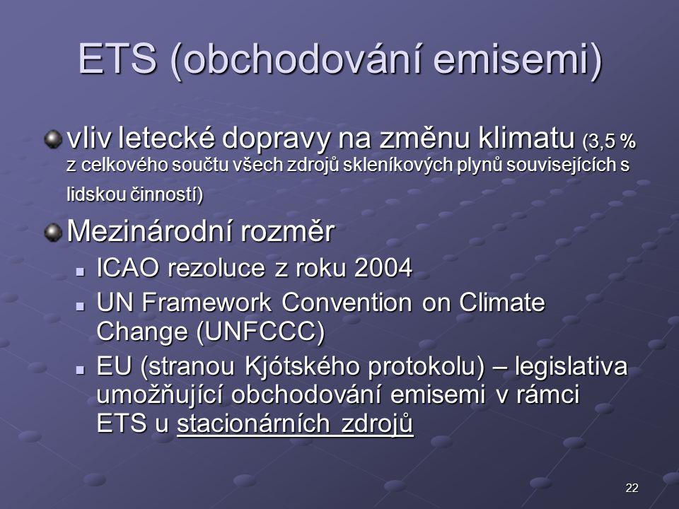 22 ETS (obchodování emisemi) vliv letecké dopravy na změnu klimatu (3,5 % z celkového součtu všech zdrojů skleníkových plynů souvisejících s lidskou č