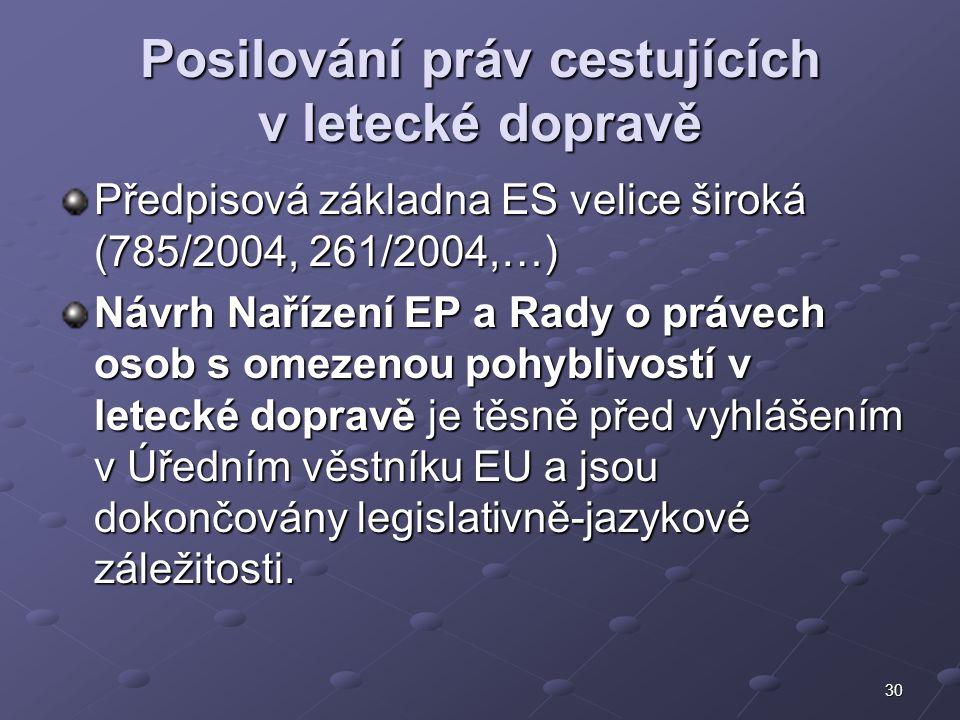 30 Posilování práv cestujících v letecké dopravě Předpisová základna ES velice široká (785/2004, 261/2004,…) Návrh Nařízení EP a Rady o právech osob s