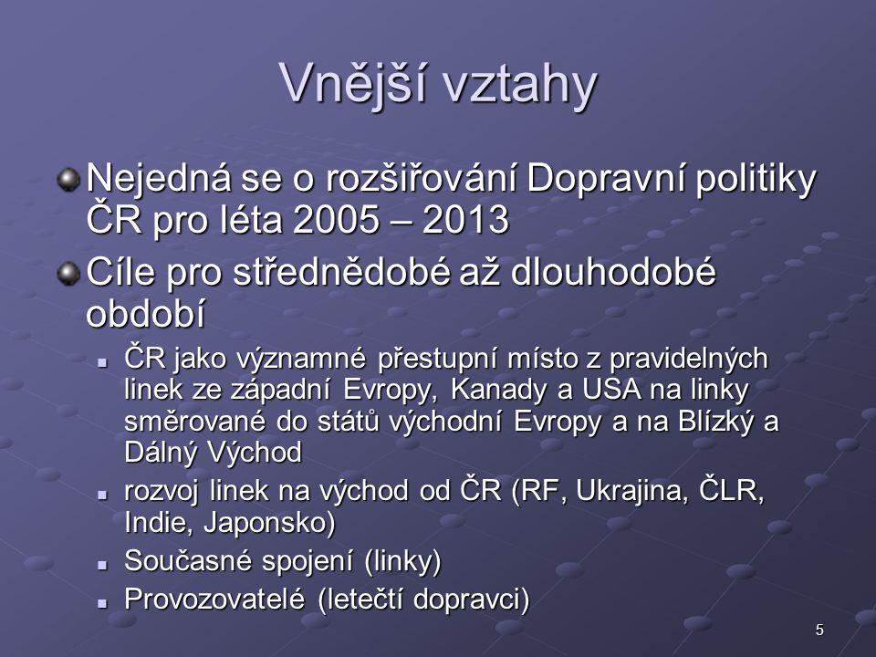5 Vnější vztahy Nejedná se o rozšiřování Dopravní politiky ČR pro léta 2005 – 2013 Cíle pro střednědobé až dlouhodobé období ČR jako významné přestupn