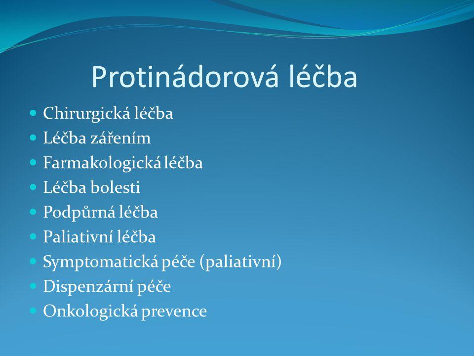 Protinádorová léčba Chirurgická léčba Léčba zářením Farmakologická léčba Léčba bolesti Podpůrná léčba Paliativní léčba Symptomatická péče (paliativní) Dispenzární péče Onkologická prevence