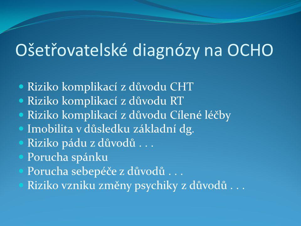 Ošetřovatelské diagnózy na OCHO Riziko komplikací z důvodu CHT Riziko komplikací z důvodu RT Riziko komplikací z důvodu Cílené léčby Imobilita v důsledku základní dg.