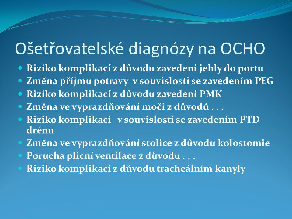 Ošetřovatelské diagnózy na OCHO Riziko komplikací z důvodu zavedení jehly do portu Změna příjmu potravy v souvislosti se zavedením PEG Riziko komplikací z důvodu zavedení PMK Změna ve vyprazdňování moči z důvodů...