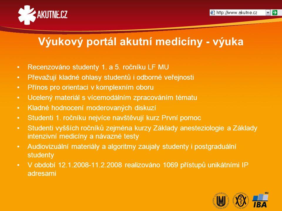 Výukový portál akutní medicíny - výuka Recenzováno studenty 1. a 5. ročníku LF MU Převažují kladné ohlasy studentů i odborné veřejnosti Přínos pro ori