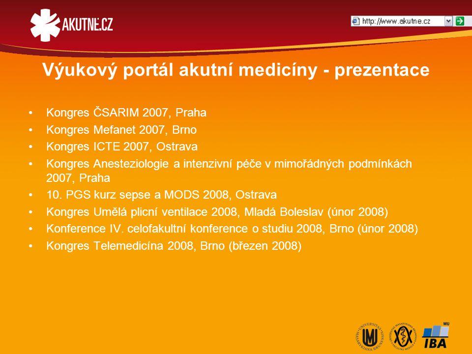 Výukový portál akutní medicíny - prezentace Kongres ČSARIM 2007, Praha Kongres Mefanet 2007, Brno Kongres ICTE 2007, Ostrava Kongres Anesteziologie a intenzivní péče v mimořádných podmínkách 2007, Praha 10.
