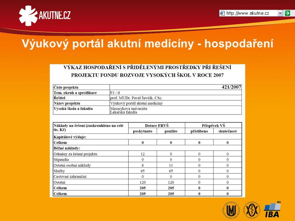 Výukový portál akutní medicíny - hospodaření