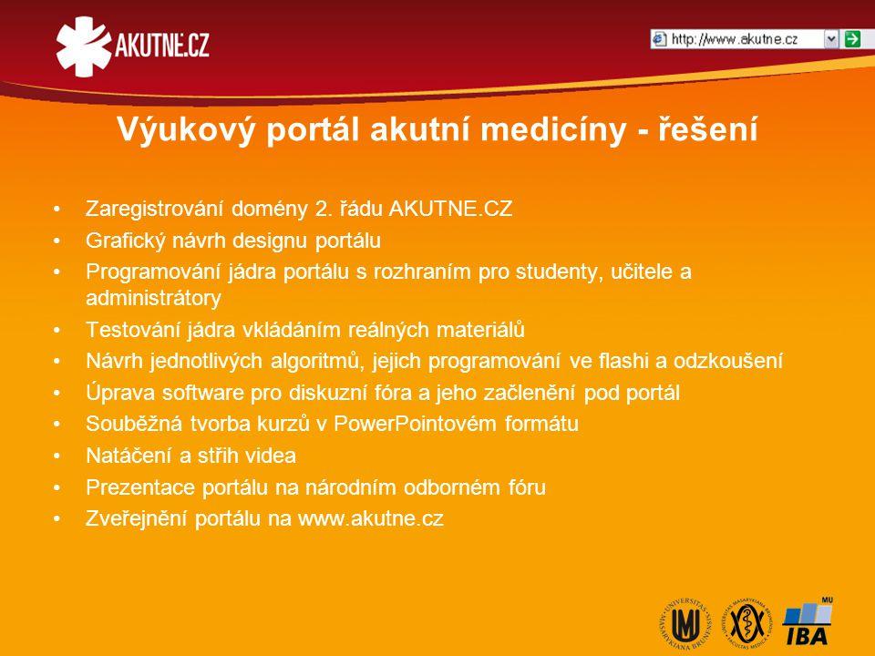Výukový portál akutní medicíny - řešení Zaregistrování domény 2. řádu AKUTNE.CZ Grafický návrh designu portálu Programování jádra portálu s rozhraním