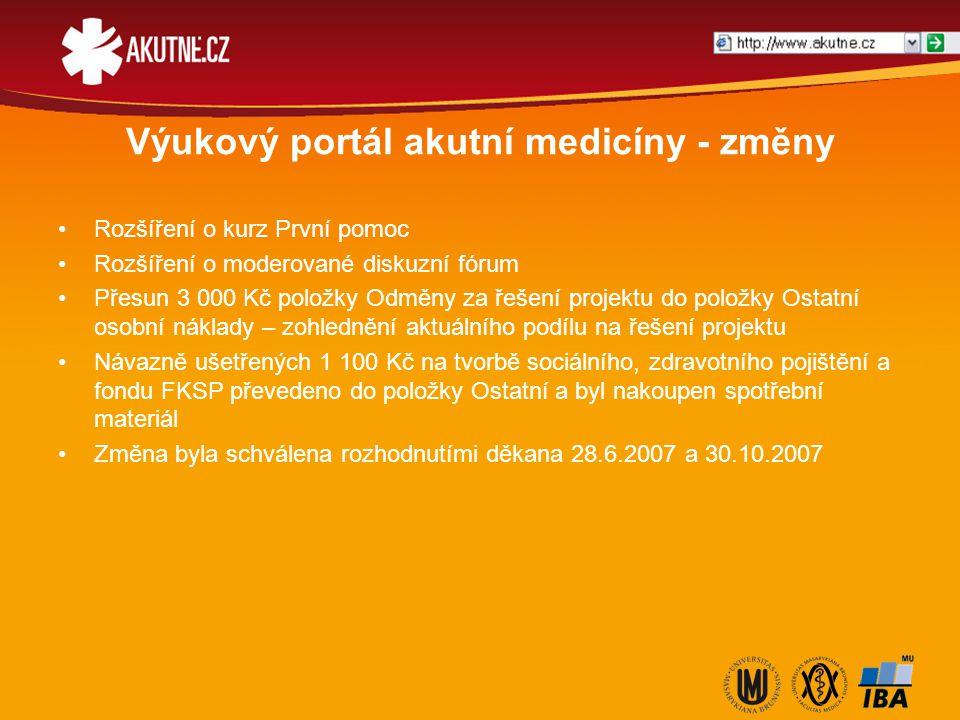 Výukový portál akutní medicíny - změny Rozšíření o kurz První pomoc Rozšíření o moderované diskuzní fórum Přesun 3 000 Kč položky Odměny za řešení pro