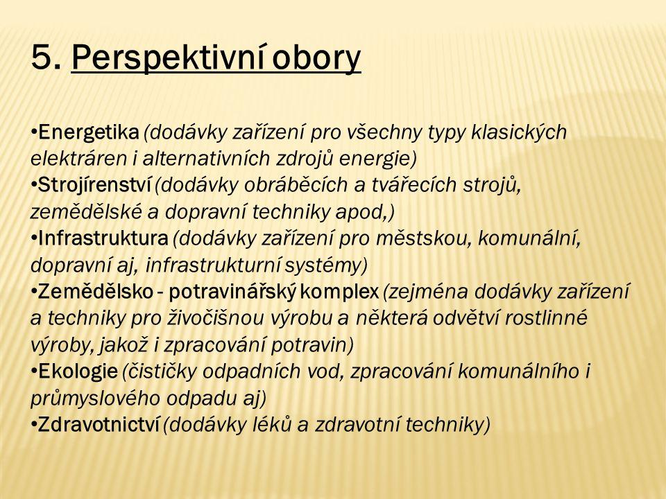 5. Perspektivní obory Energetika (dodávky zařízení pro všechny typy klasických elektráren i alternativních zdrojů energie) Strojírenství (dodávky obrá