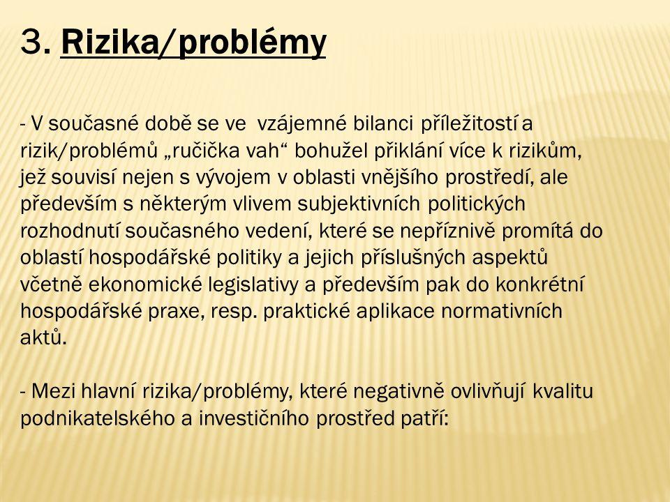 """3. Rizika/problémy - V současné době se ve vzájemné bilanci příležitostí a rizik/problémů """"ručička vah"""" bohužel přiklání více k rizikům, jež souvisí n"""