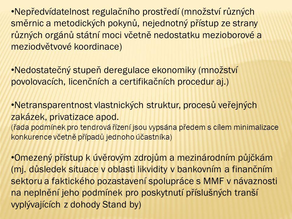 Nepředvídatelnost regulačního prostředí (množství různých směrnic a metodických pokynů, nejednotný přístup ze strany různých orgánů státní moci včetně nedostatku mezioborové a meziodvětvové koordinace) Nedostatečný stupeň deregulace ekonomiky (množství povolovacích, licenčních a certifikačních procedur aj.) Netransparentnost vlastnických struktur, procesů veřejných zakázek, privatizace apod.