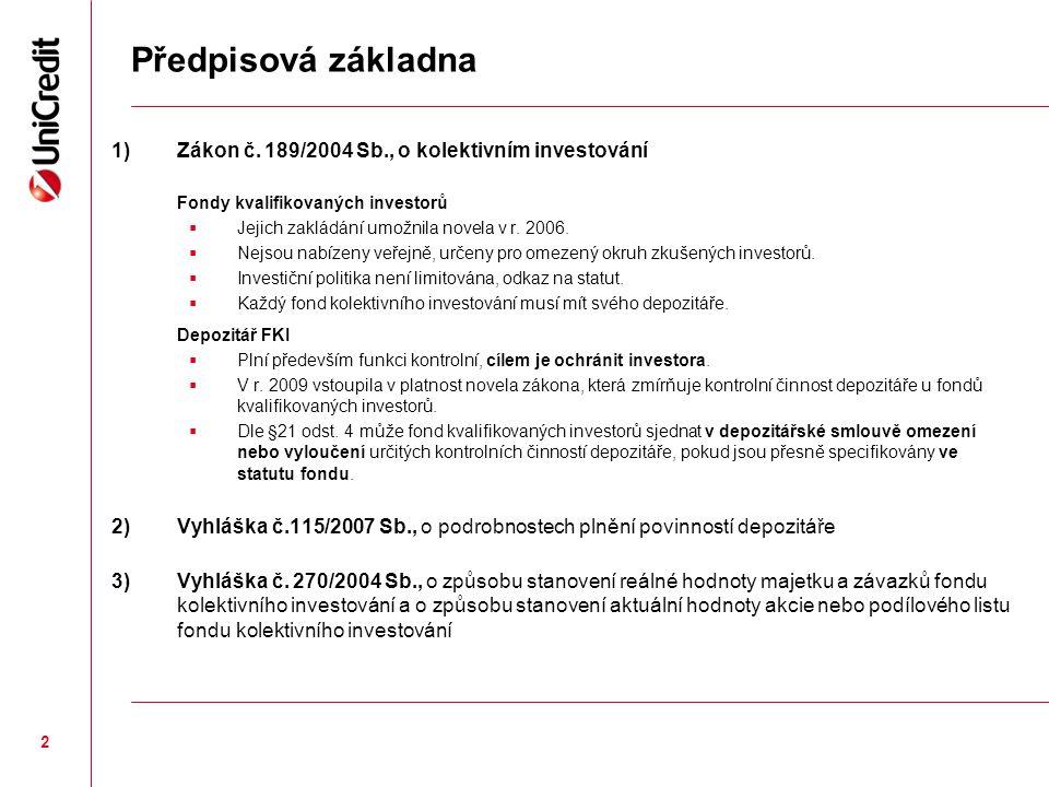 2 Předpisová základna 1)Zákon č. 189/2004 Sb., o kolektivním investování Fondy kvalifikovaných investorů  Jejich zakládání umožnila novela v r. 2006.
