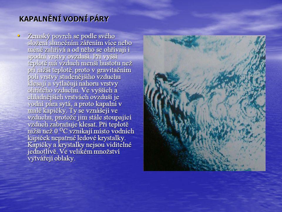 Měření základních meteorologických prvků VLHKOST VZDUCHU Absolutní vlhkost vzduchu se určuje hmotností vodní páry obsažené v objemu 1m 3. Absolutní vl