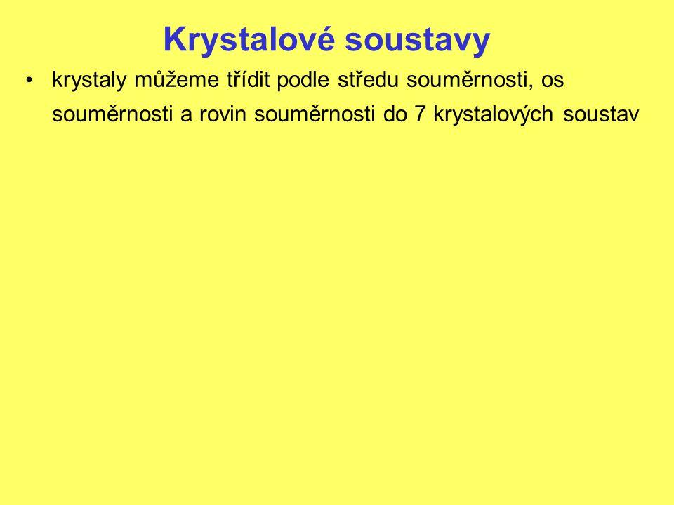 Krystalové soustavy Soustava kosočtverečná prvky souměrnosti: 3 roviny 3 dvojčetné osy 1 střed