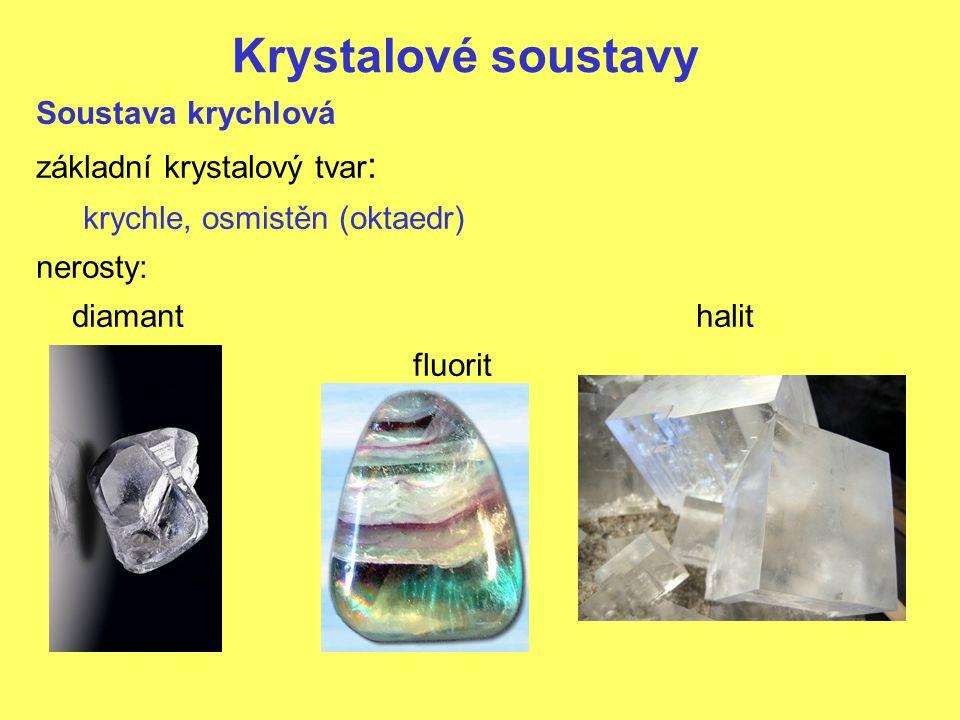 Krystalové soustavy Soustava krychlová základní krystalový tvar : krychle, osmistěn (oktaedr) nerosty: diamanthalit fluorit