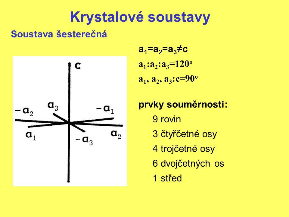 Krystalové soustavy Soustava šesterečná a 1 =a 2 =a 3 ≠c a 1 :a 2 :a 3 =120 o a 1, a 2, a 3 :c=90 o prvky souměrnosti: 9 rovin 3 čtyřčetné osy 4 trojč