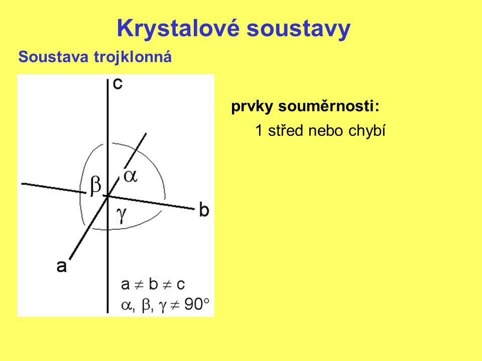 Krystalové soustavy Soustava trojklonná prvky souměrnosti: 1 střed nebo chybí
