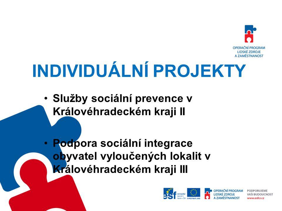 INDIVIDUÁLNÍ PROJEKTY Služby sociální prevence v Královéhradeckém kraji II Podpora sociální integrace obyvatel vyloučených lokalit v Královéhradeckém kraji III