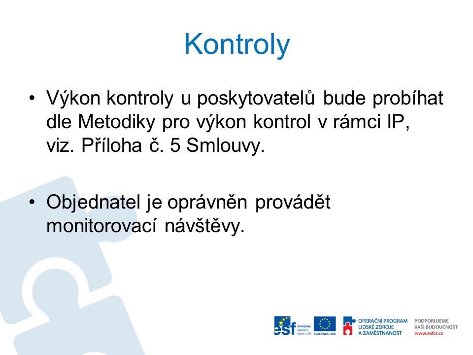 Kontroly Výkon kontroly u poskytovatelů bude probíhat dle Metodiky pro výkon kontrol v rámci IP, viz. Příloha č. 5 Smlouvy. Objednatel je oprávněn pro