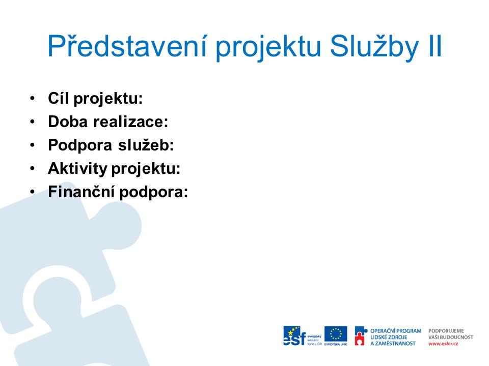 Představení projektu Služby II Cíl projektu: Doba realizace: Podpora služeb: Aktivity projektu: Finanční podpora: