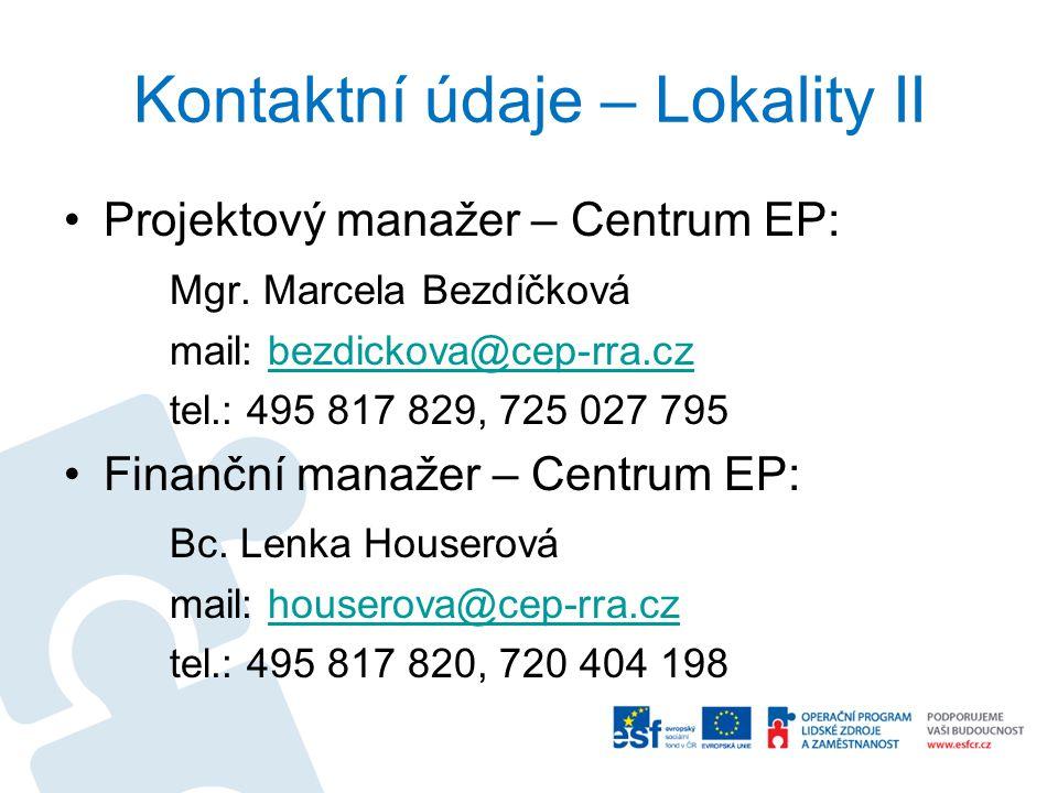 Kontaktní údaje – Lokality II Projektový manažer – Centrum EP: Mgr. Marcela Bezdíčková mail: bezdickova@cep-rra.czbezdickova@cep-rra.cz tel.: 495 817