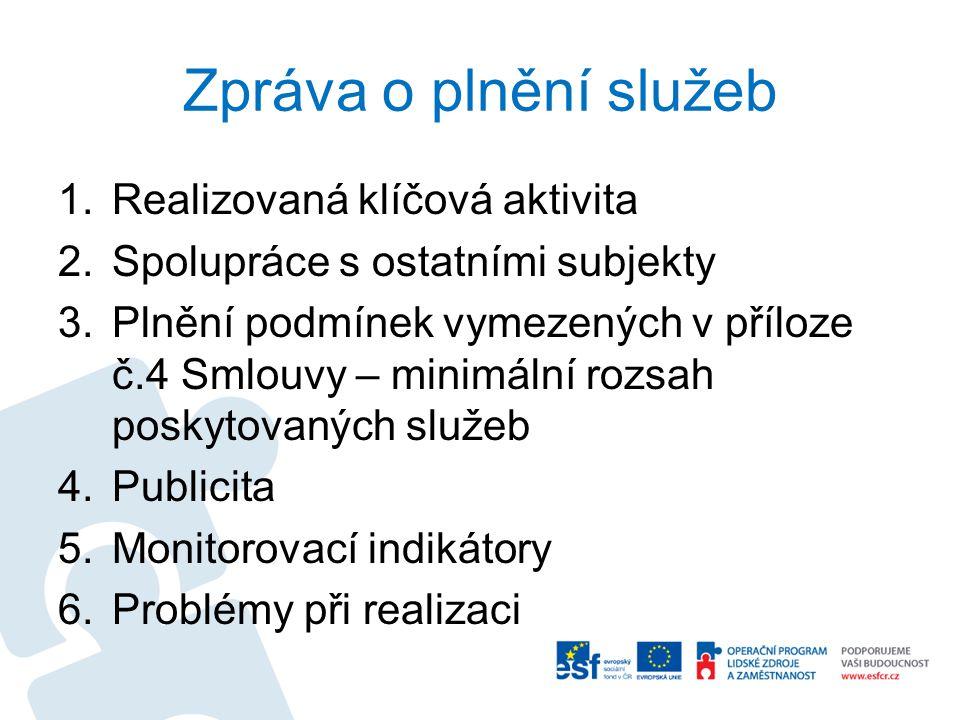 Zpráva o plnění služeb 1.Realizovaná klíčová aktivita 2.Spolupráce s ostatními subjekty 3.Plnění podmínek vymezených v příloze č.4 Smlouvy – minimální