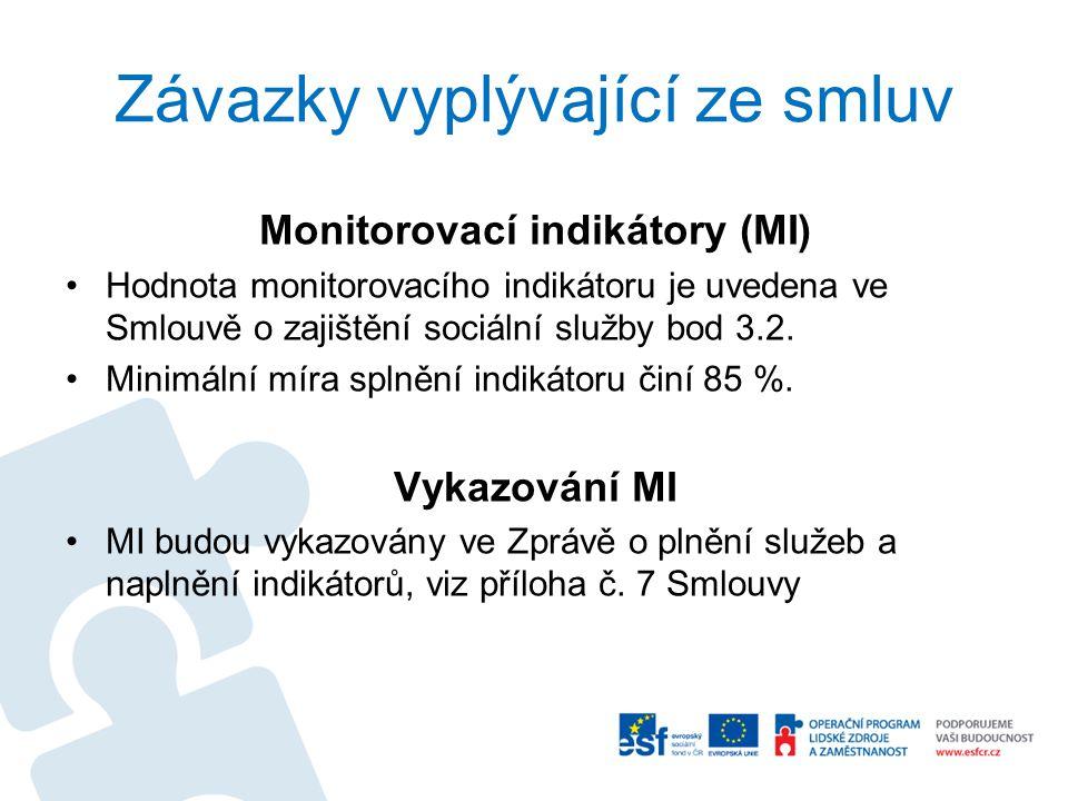 Závazky vyplývající ze smluv Monitorovací indikátory (MI) Hodnota monitorovacího indikátoru je uvedena ve Smlouvě o zajištění sociální služby bod 3.2.