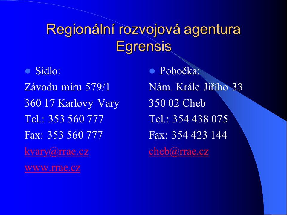Regionální rozvojová agentura Egrensis Sídlo: Závodu míru 579/1 360 17 Karlovy Vary Tel.: 353 560 777 Fax: 353 560 777 kvary@rrae.cz www.rrae.cz Pobočka: Nám.
