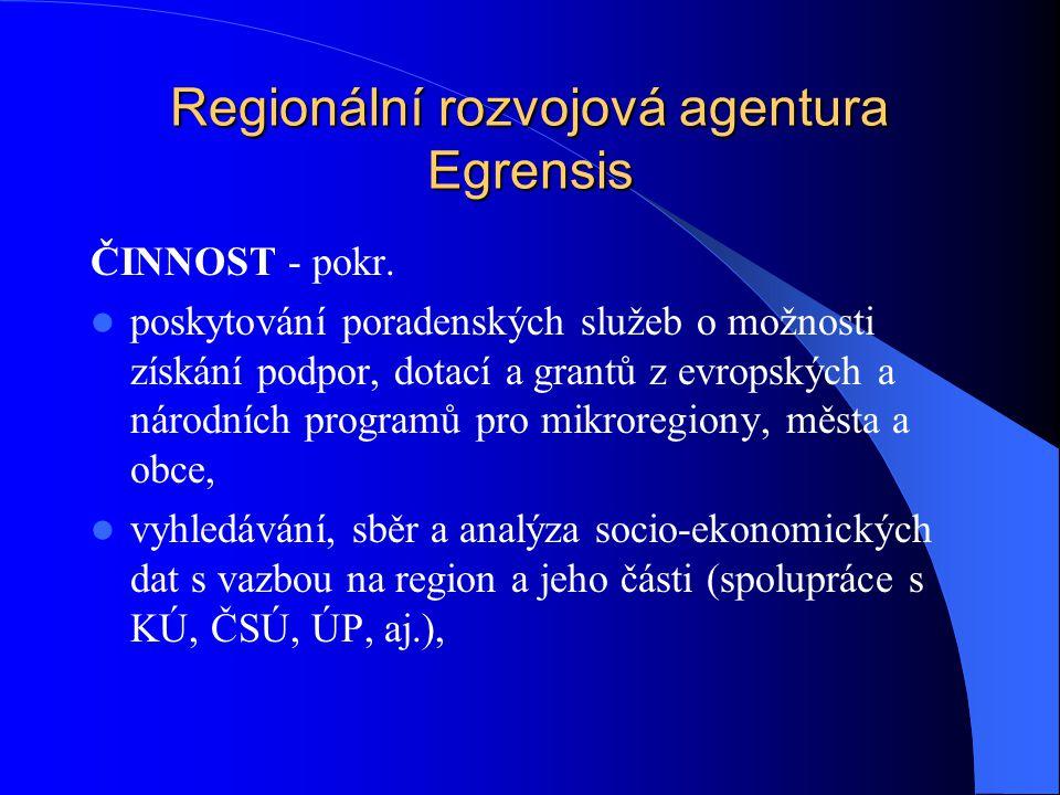 Regionální rozvojová agentura Egrensis ČINNOST - pokr.