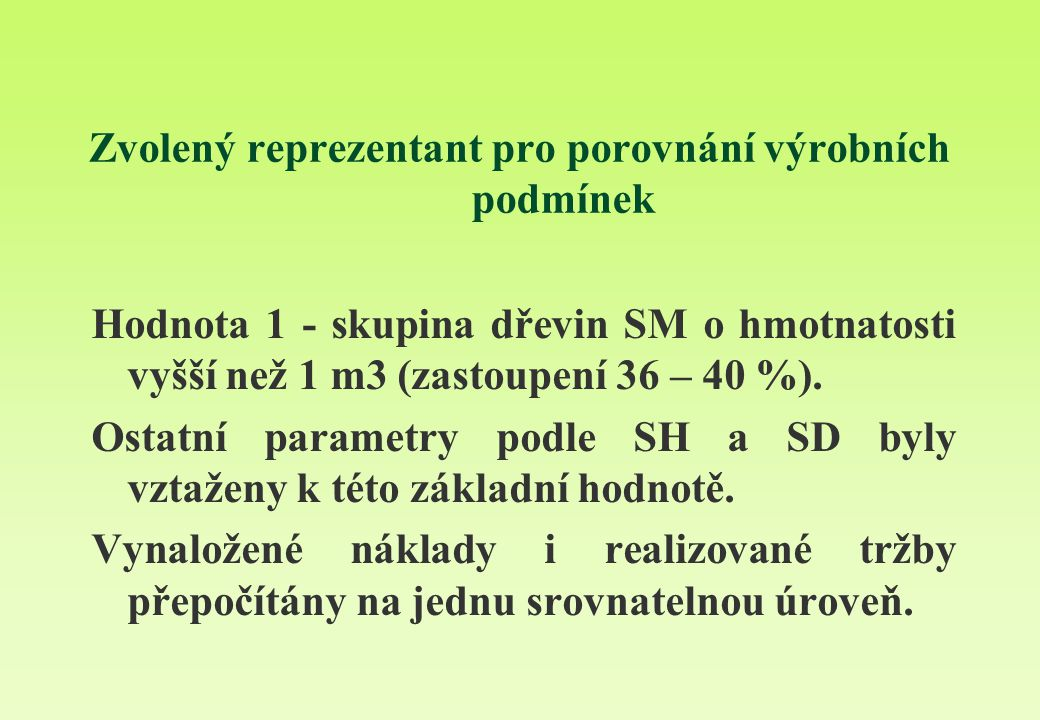 Zvolený reprezentant pro porovnání výrobních podmínek Hodnota 1 - skupina dřevin SM o hmotnatosti vyšší než 1 m3 (zastoupení 36 – 40 %). Ostatní param