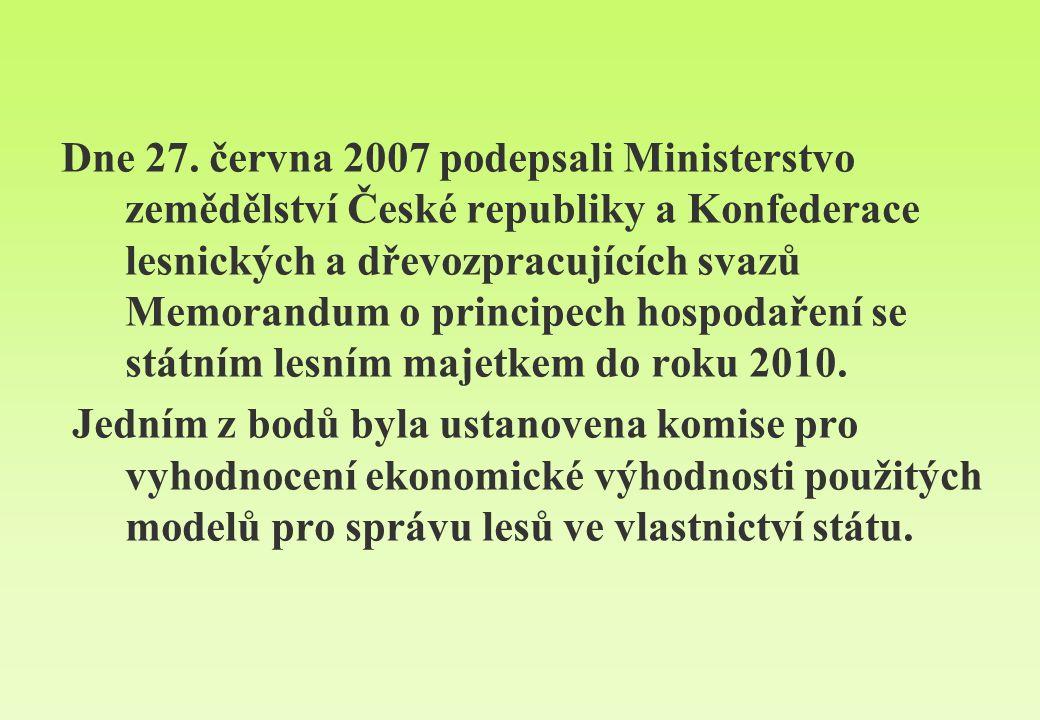 Dne 27. června 2007 podepsali Ministerstvo zemědělství České republiky a Konfederace lesnických a dřevozpracujících svazů Memorandum o principech hosp