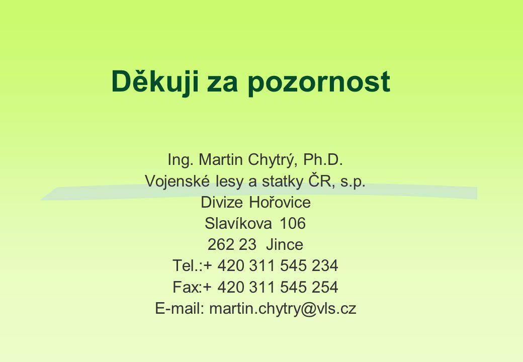 Děkuji za pozornost Ing. Martin Chytrý, Ph.D. Vojenské lesy a statky ČR, s.p. Divize Hořovice Slavíkova 106 262 23 Jince Tel.:+ 420 311 545 234 Fax:+