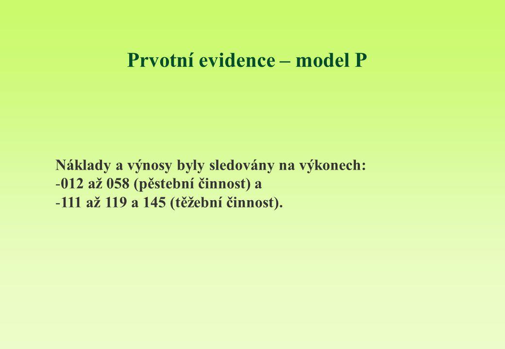 Prvotní evidence – model P Náklady a výnosy byly sledovány na výkonech: -012 až 058 (pěstební činnost) a -111 až 119 a 145 (těžební činnost).