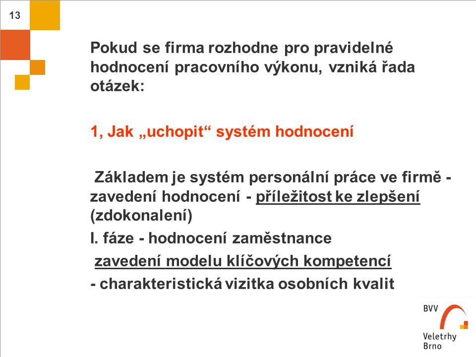 """14  Jak """"uchopit systém hodnocení - pokračování  - pracovní a osobní kompetence (způsobilost zaměstnance uplatnit se v konkrétních podmínkách pracovního zařazení)  - sociální kompetence, způsobilost vhodně  se prosadit v sociálních otázkách"""