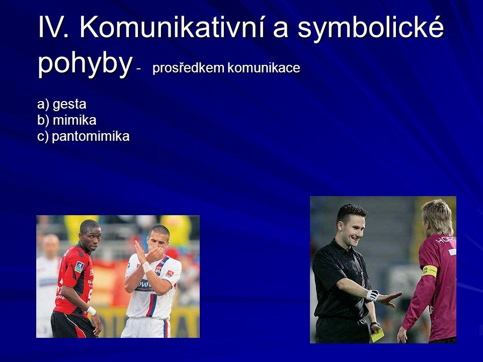 IV. Komunikativní a symbolické pohyby - prosředkem komunikace a) gesta b) mimika c) pantomimika