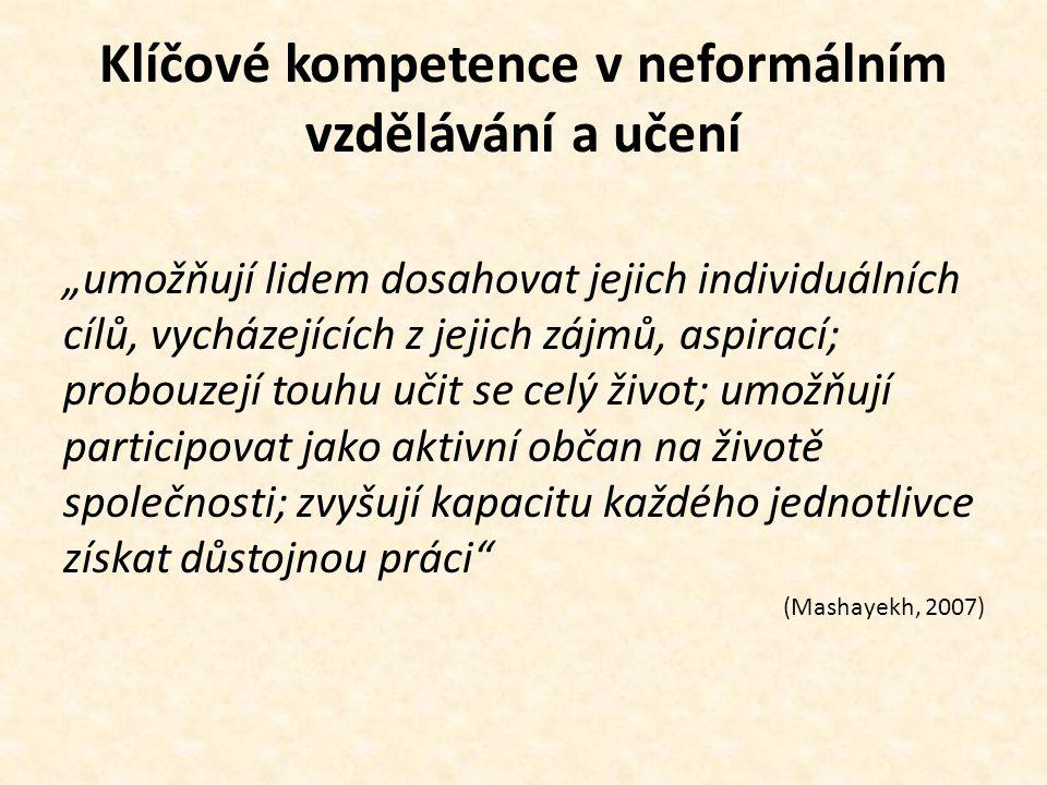 """Klíčové kompetence v neformálním vzdělávání a učení """"umožňují lidem dosahovat jejich individuálních cílů, vycházejících z jejich zájmů, aspirací; prob"""