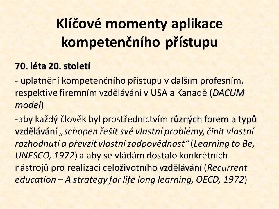 Klíčové momenty aplikace kompetenčního přístupu 70. léta 20. století DACUM model - uplatnění kompetenčního přístupu v dalším profesním, respektive fir