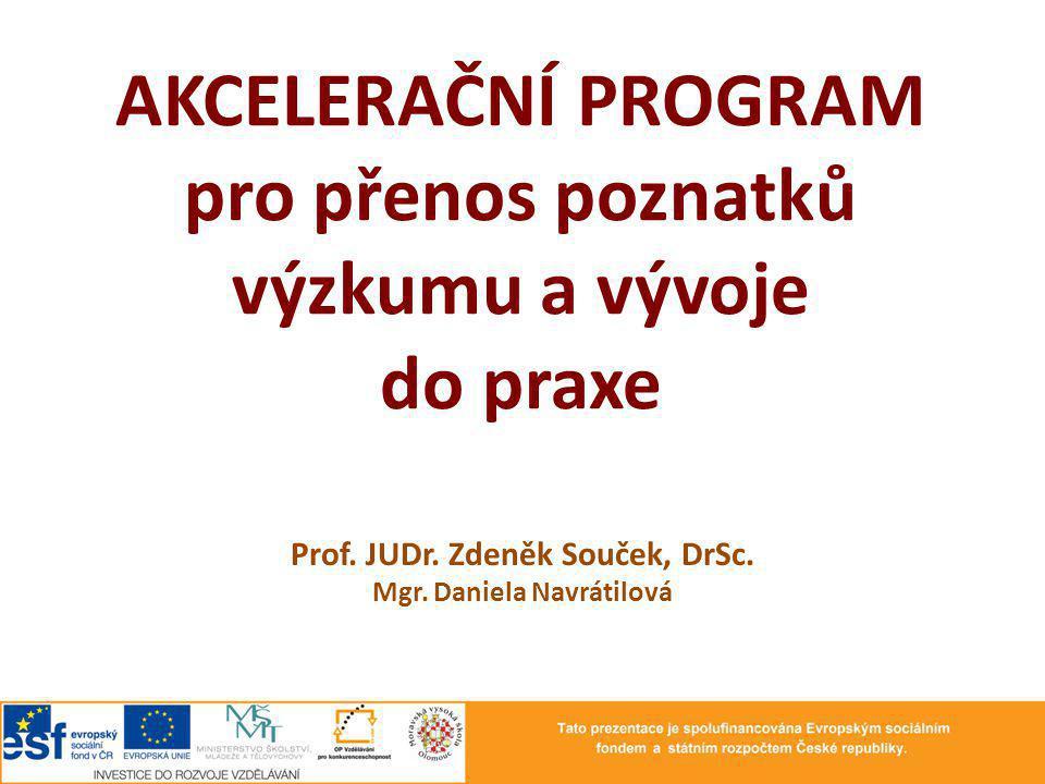 AKCELERAČNÍ PROGRAM pro přenos poznatků výzkumu a vývoje do praxe Prof. JUDr. Zdeněk Souček, DrSc. Mgr. Daniela Navrátilová