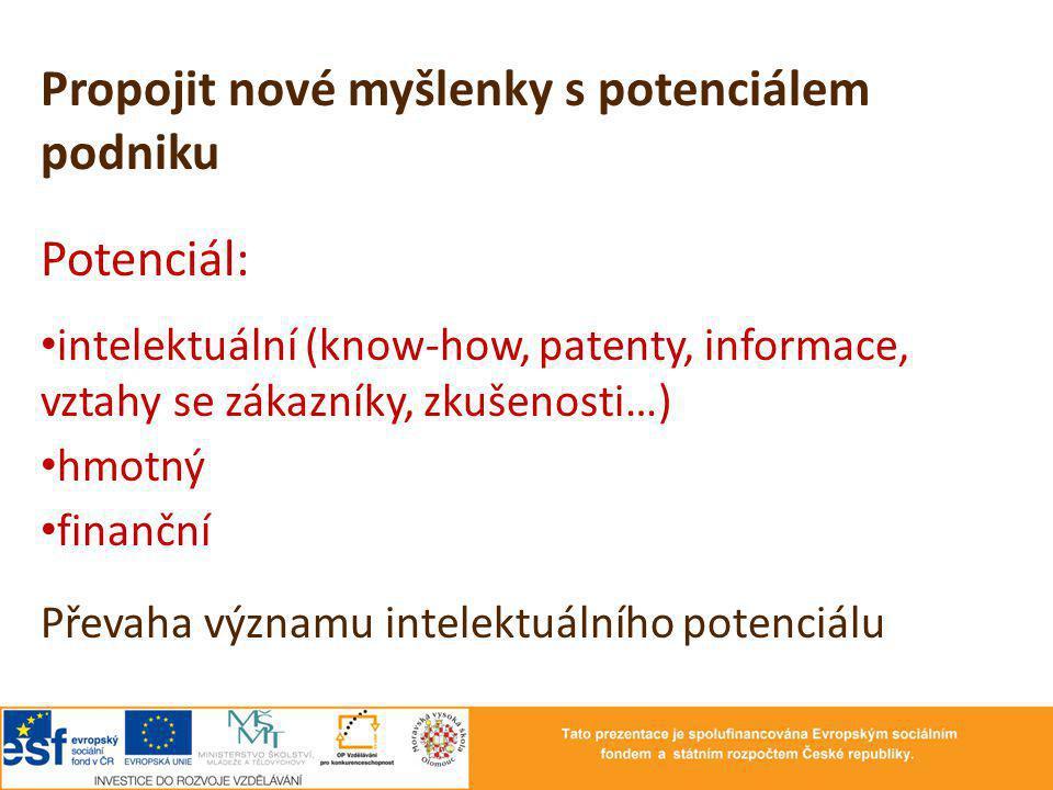Propojit nové myšlenky s potenciálem podniku Potenciál: intelektuální (know-how, patenty, informace, vztahy se zákazníky, zkušenosti…) hmotný finanční