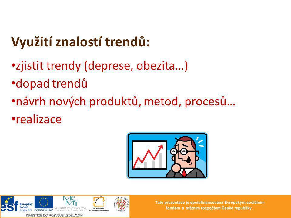 Využití znalostí trendů: zjistit trendy (deprese, obezita…) dopad trendů návrh nových produktů, metod, procesů… realizace