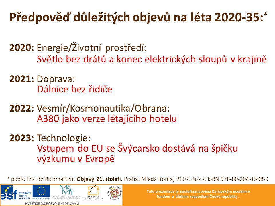 Předpověď důležitých objevů na léta 2020-35: * 2020: Energie/Životní prostředí: Světlo bez drátů a konec elektrických sloupů v krajině 2021: Doprava: