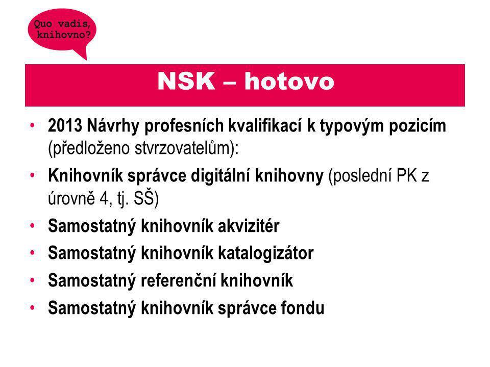 NSK – hotovo 2013 Návrhy profesních kvalifikací k typovým pozicím (předloženo stvrzovatelům): Knihovník správce digitální knihovny (poslední PK z úrovně 4, tj.