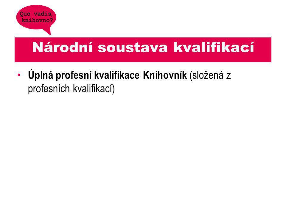 Národní soustava kvalifikací Úplná profesní kvalifikace Knihovník (složená z profesních kvalifikací)