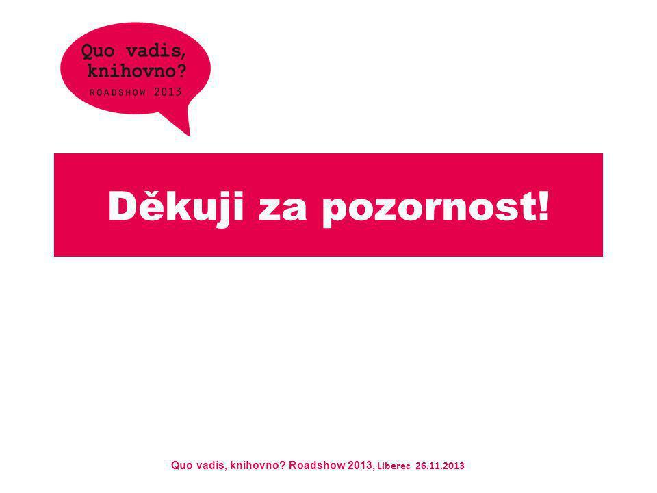 Quo vadis, knihovno? Roadshow 2013, Liberec 26.11.2013 Děkuji za pozornost!
