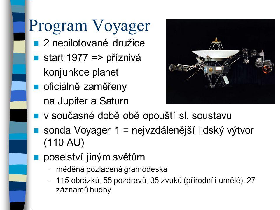 Program Voyager 2 nepilotované družice start 1977 => příznivá konjunkce planet oficiálně zaměřeny na Jupiter a Saturn v současné době obě opouští sl.